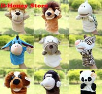 Wholesale Wholesale New Cute Monkey Hand - 2016 new Children Animal Hand Puppet Toys Classic Kawaii Children Hand Puppet Novelty Cute Dog Monkey Lion puppet 25cm