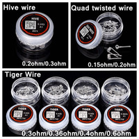 Wholesale Ribbon Tools - Tiger Quad Twisted Wire Hive Premade Wrap Wires Prebuilt Ribbon Clapton Fused Resistance Coils for RDA Vapor Vape 10pcs box DIY Tool