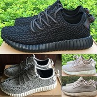 Wholesale Men Boots Shoes Online - 2018 Wholesale with box Top Quality Kanye Milan West 350 boots Classic Black 350 Men Moonrock Tan Trainers Women Sports Shoes Online