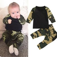 Wholesale baby boy camouflage set for sale - Group buy INS fashion baby Boys Camouflage outfits cotton Top Camouflage pants set children suit top quality