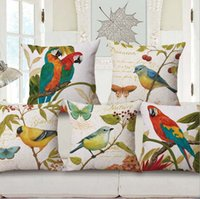 Wholesale Pillow Covers Country - beautiful country bird cushion cover parrot almofada decorative sofa throw pillow case chair couch home decor