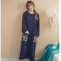 Wholesale Women Sleepwear Dress For Summer - Wholesale- Spring Autumn women long-sleeve Nightgowns sleepwear loose Sleepshirt Robe summer Ladies T-shirt Dress for mujer Nightdress