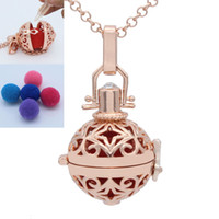 Wholesale Rose Gold Star Necklace - NEW Rose Gold Star Hollow Floating Locket Essential Oil Aromatherapy Diffuser Openable Pendant Chain Necklace Jewelry Charms Gift