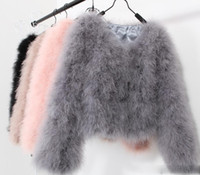 Wholesale Sexy Fur Coats - 10 colors fashion sexy Ostrich wool turkey fur 2017 wool coat feather fur short jacket angelababy