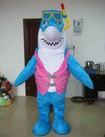 ingrosso costume di squalo blu-Costume da mascotte di stoffa blu a 100% con feedback positivo per adulto con vetro da immersione