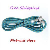 "Wholesale braided hoses - 6' Braided 1 4"" - 1 8"" Fitting Ends Coupling Adapter Iwata Master Airbrush Hose Woven with Quick Coupling Airbrush Trachea"