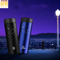 Wholesale 12 Lid Stainless - 300Ml Metal Water Bottle Stainless Steel Bottle Portable Water Drinking Thermos 12 Constellation Pattern Beautiful Fashion Design Best Gifts