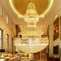 Wholesale Large Iron Pendant Light - Luxury Gold Chandelier Palace Swirl Large Crystal Pendant Lamp Villas Hotel Hall Light Staircase Lights Droplight Living Room Ceiling Light