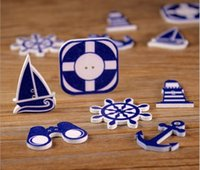 Wholesale Baby Sewing Buttons - 300pcs lot Decorative wooden Button Cartoon Navigation Series Sailing Anchor Sewing Buttons Cloth Accessories Baby Shower DIY Crafts