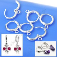 Wholesale Lever Back Wires - Wholesale 20PCS(10Pairs) European Style Lever Back Ear Wires Jewelry Findings Real Pure 925 Sterling Silver Hoop Earring DIY