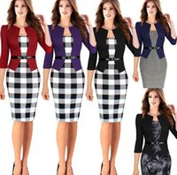 Wholesale Works Bell - 2017 Women New Fashion Autumn Spring Style Faux Two Piece Elegant Plaid Long Sleeve Pencil Dresses Office Wear Work Outfits DHL 171006