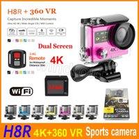"Wholesale Roller Controller - 30M Waterproof Sports Camera H8 H8R Remote controller 4K 1080P HD Action Camera Diving HDMI 2.0"" 170° Dual screen WIFI Mini DV 360 VR"