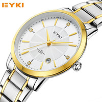 Wholesale Eyki Water - Luxury Brand EYKI Steel Thin Men's Quartz Dress Watch Calendar Clock 3ATM Waterproof Fashion Business Watches Relogio Masculino