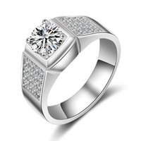 Diamants Synthétiques 925 Argent Pas Cher-LSL Bijoux Hommes Bague 1.25 Ct Lab-SONA Créé synthétique Simulated Diamond Ring for Men 925 Bague en argent sterling plaqué platine Bijoux