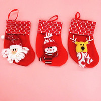 Wholesale Candy Ba - christmas Tree Ornaments decorations Red Santa Snowman Socks Christmas gifts for children christmas stockings socks decoration cute Candy Ba