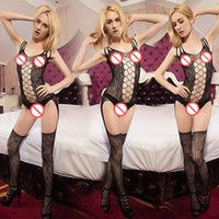 Wholesale Lace Bodystocking Free Shipping - Free Shipping Sexy Lace Neck Fishnet Body Stocking Sexy Lingerie Nets Sex Costumes Mesh Fishnet Open Crotch Bodystocking