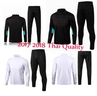 Wholesale Boy Xl Sweater - 2017 18 Best quality Soccer tracksuits survetement football 17 18 sweater suit real madrid trainning sweater top set long pant