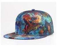 Wholesale Heat Transfer Images - 2016 Spring Summer 3d Heat Transfer Printing Dragon Images Unisex Baseball Hat Hiphop Cap Adjustable snapback cap