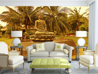 mural de buda venda por atacado-Estátua de Buda coqueiros Pano de Fundo Grandes Murais 3D Mural Papel De Parede Personalizar em qualquer lugar na sala