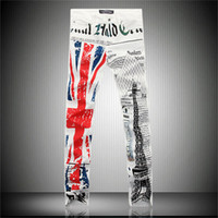 Wholesale Microfiber Tower - Wholesale-2016 new fashion casual white jeans male British flag, Eiffel Tower in Paris, fashion printed men's jeans size28-42free shipping