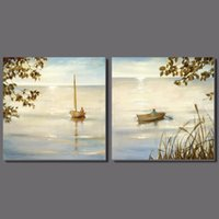 Wholesale beautiful sea painting for sale - Group buy Beautiful gold seaside unframed Promotion Landscape Decoration Light shining sea Canvas Painting wall hanging home decor
