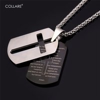 Collare Bible Lords Prayer Cross Colares de aço inoxidável Pingentes Gold Color Wholesale Christian Jewelry Tag de cachorro homens P509