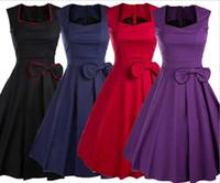 Wholesale Pinup Rockabilly Dress - Casual Women Bow 1950s Tunic Swing Dress Pinup Rockabilly Vintage Evening Retro Party Elegant Bowknot Summer Dresses