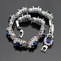 pulseiras de safira azuis venda por atacado-925 Pulseiras De Prata Esterlina Para As Mulheres Comprimento 18 cm Flor Azul Sapphire Tanzanite Topázio Branco Moda Jóias Caixa De Presente Livre