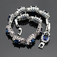 Wholesale Gift Box 18cm - 925 Sterling Silver Bracelets For Women Length 18cm Flower Blue Sapphire Tanzanite White Topaz Trendy Jewelry Free Gift Box