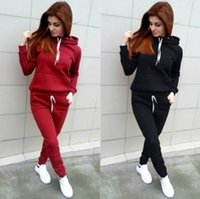 Wholesale Ladies Tennis Clothes - HOT! Autumn and Winter Ladies Hoody Sportswear Set Solid Pocket Women's Casual Tracksuits Track Suit Women Clothing Set