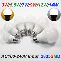 Wholesale 7w Clothing - 2835SMD 3W 5W 7W 9W 12W 14W LED Globe Bulb Light AC100-240V Input Plastic Clad Aluminum Inner, Warm White and Cool White Color