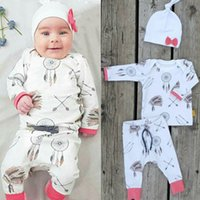Wholesale Summer Hot Sale Children Clothing - 2016 hot sale baby suits Dreamcatcher logo printed children boy Girl Clothes Long Sleeve T-shirt+Pants+bow Hat 3pcs Outfit Set free shipping