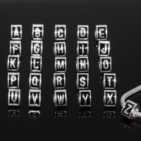 Wholesale Diy Cube Spacer Beads - Wholesale 1set Alphabet Letter A-Z Trigonal Spacer large hole European Beads For Charms Bracelet ,DIY Silver Plated Jewelry Accessories