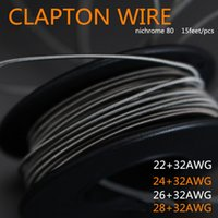 Wholesale Cigarette Wired - Nichrome Clapton Wire Heating Wires For E Cigs RDA Atomizer DIY E Cigarettes 22AWG 24AWG 26AWG 28AWG 15ft Individually Packed