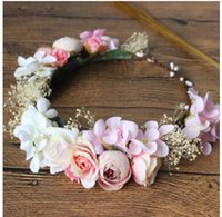 Wholesale Tiara Wreath Headband - Girls wreath kids stereo flowers headdress children Bridal wedding Tiaras princess girls beach photography accessories C1997