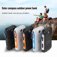 Wholesale Solar Light Mobile Charger - Travel Waterproof Solar Power Bank 10000mah Dual USB Solar Battery Charger powerbank Led light compass for mobile phone