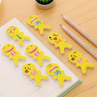 ingrosso cancelleria smiley-Hot Cute Smiley Face Eraser Creativo forma umana Yellow Eraser Expression Gomma Studente di cancelleria Regali creativi IB437