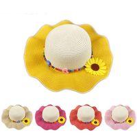 sombreros de paja hechos a mano al por mayor-2016 moda sombreros de paja bebé niña verano flor casquillo hecho a mano de playa sombreros niños cara Sun Visor Cap sombrero plegable