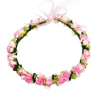 Wholesale Tiara Wreath Headband - 2017 Fashion Flower Crown Wedding Bride Wreath Corolla Bohemia Tiaras Hair Accessories Headband Women Girl Party Gift Hair Jewelry Bohemian