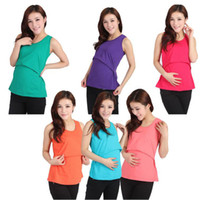 Wholesale Cute Pregnancy Clothing - New Women pregnancy mommy Maternity Vest Blouse Nursing Feeding Summer Pregnant Cotton Tank Tops T Shirt Cute Summer Clothes