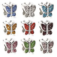 Wholesale Rhinestone Butterfly Charms - Rhinestone drop oil Bead Big Hole Alloy Multicolored butterfly Loose Beads charm European Beads Fit Pandora DIY Jewelry Bracelet & necklace