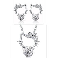 Wholesale Shambhala Hello Kitty Stud Earrings Necklaces Set Jewelry Cute KT Cat S925 Sterling Silver Ear Stud Pendant Statement Necklaces with Crystal