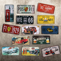 Wholesale Paiting Signed - Metal Paiting Tin Sign Metal Plate Vin15*30cm Decoration Hanging Pictures 30 Styles Wall Art for Bar Cafe Home Club Pub