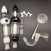 coletores de nó venda por atacado-Tubos de água de vidro coletor de néctar 2.0 kit coletor nector 14mm com unhas de quartzo pregos de titânio dabber prato ashcatcher bong tubo de vidro