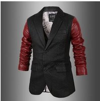 Wholesale Diamond Lattice Jacket - Fall-2016 New fashion men's formal leather coat Explosion models suit styles pu leather jackets patchwork red black Diamond lattice