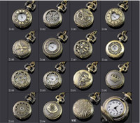 Wholesale Antique Watches - mix style Antique Pocket watch with chain Necklace Classic Pocket Watches A052