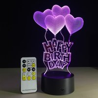 Wholesale Cartoon Screen - 1 pcs Happy Birthday with Heart Frame Touch Screen 3D illusion Led flash light toy Birthday gift