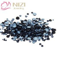 Wholesale Half Pearl Beads 14mm - Black Jet Half Round Resin Pearls 10-14mm Imitation Glue On Crafts Scrapbook Beads Glitter Gems DIY Nails Art Jewelry Supplies