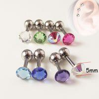 Wholesale Red Barbell Earrings - 30 pieces Earring Nail CZ Crystal Ear Bone Barbell Earring helix Ear Stud Tragus Ear Piercing Body Jewelry