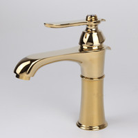 Wholesale Highest Quality Gold Bathroom Faucets - New High Quality Titanium Gold Plate Copper Brass Waterfall Bathroom Basin Faucet Single Handle Sink Mixer Tap Hot Cold Water